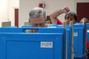 Image: Sen. Mitch McConnell (R-KY) Casts His Vote In Midterm Elections