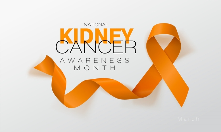 National Kidney Cancer Awareness Month. Orange Color Ribbon Isolated On Transparent Background. Vector Design Template For Poster.